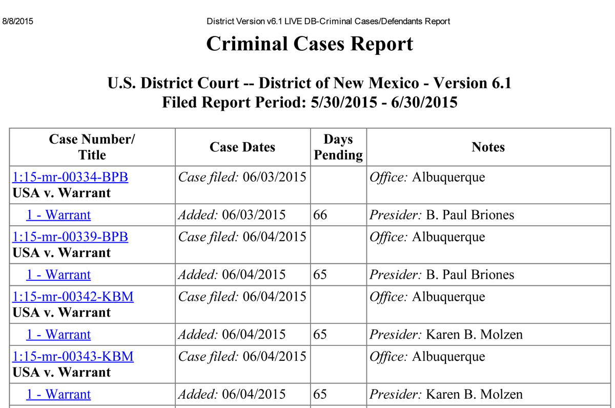 3  Federal search warrants | NM Cops and Courts Beat Guide